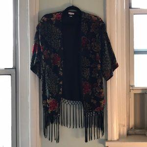 Lightly worn velvet floral kimono.